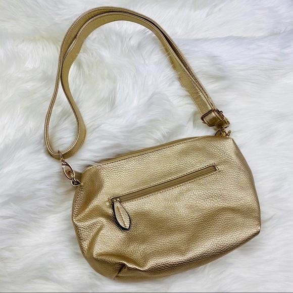 NEW Imoshion Gold Pebbled Leather Crossbody Bag